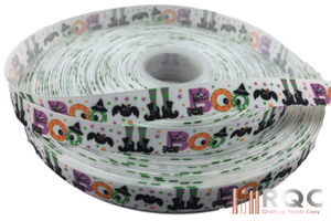 "Halloween Grosgrain Ribbon 5/8""  - Boo, Witch, Spider Halloween  ribbons"