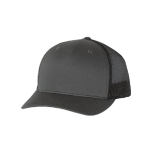 Charcoal Grey and Black 5 Panel Richardson Trucker Hat sold by RQC Supply Canada