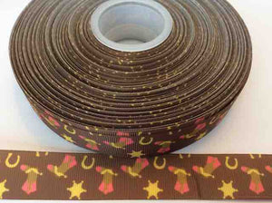 "Girl Wild West Cowboy Ribbons Grosgrain Ribbon 1"" - Brown Ribbons with cowboy boot and spur"