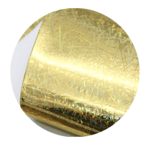 Gold Holographic Sparkle Printed Faux Leather Sheets sold by RQC Supply Canada