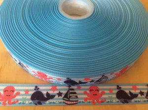 "Under the Sea Grosgrain Ribbons 7/8"", Blue Striped with Octopus, Whale, Boat"