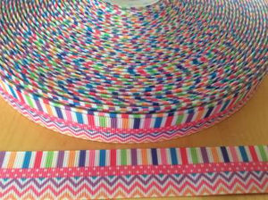 "Pastel Chevron, Stripes, and Polka dot Grosgrain Ribbon 7/8"" - Spring and Easter Ribbons"