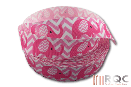 Pink Elephant Grosgrain Ribbon