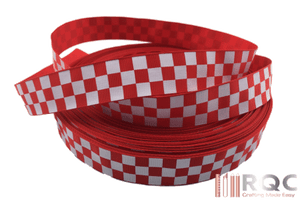 Red and White Checkered Grosgrain Ribbon 7/8""