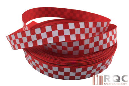 Red and White Checkered Grosgrain Ribbon 7/8