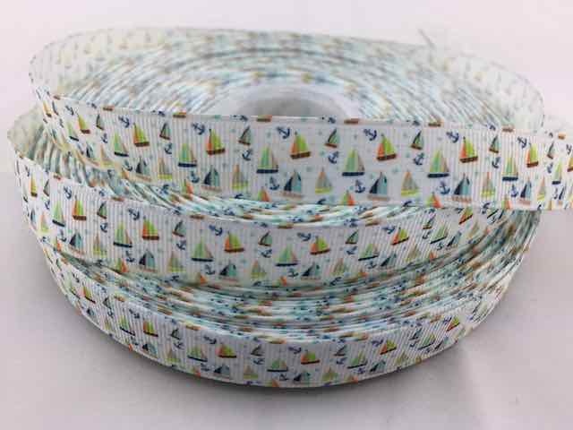 Sail boat Grosgrain Ribbon 5/8