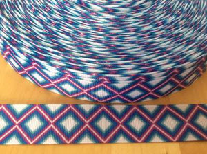Teal and Purple Diamond Grosgrain Ribbon 7/8""