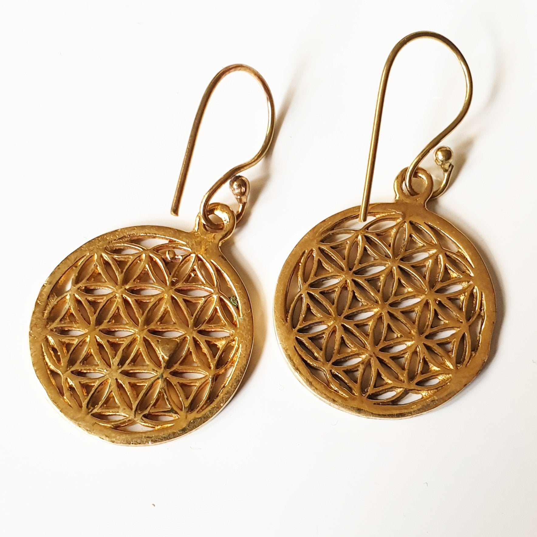 Flower of Life, Liten - Örhängen i mässing