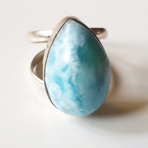 "Ring ""larimar"" droppe i 925 silver (17,5)"