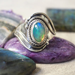 "Ring ""Opal"" honey comb i 925 silver (18)"