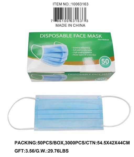 3PLY ADULT NON MEDICAL DISPOSABLE MASK 50PC