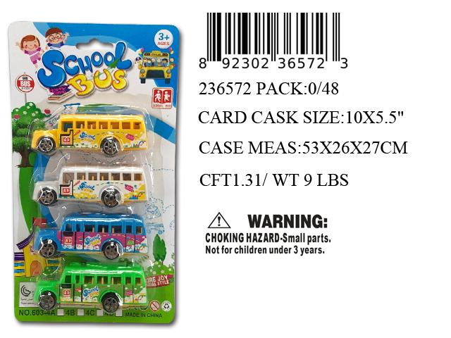 "10X5.5""4PC PULL BACK SCHOOL BUS"