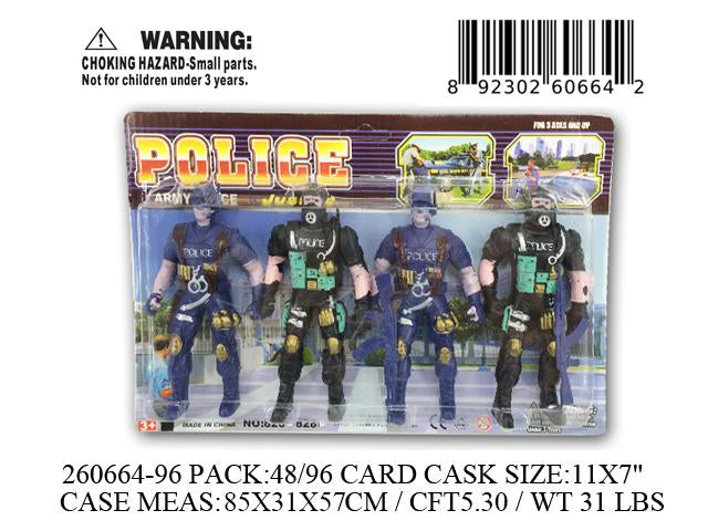 "11X7""4PC POLICE ACTION FIG. SET"