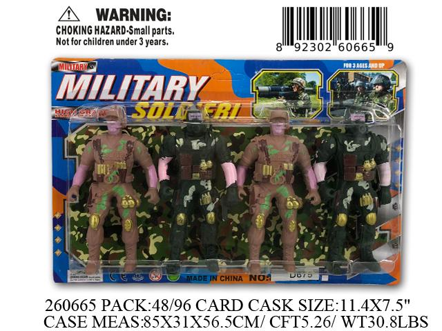 "11.4X7.5""4PC MILITARY SOLDIER ACTION FIG. SET"