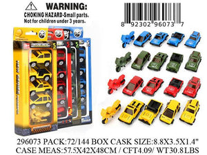 "8.8X3.5X1.4""5PC DIE CAST CAR SET 4 ASST."