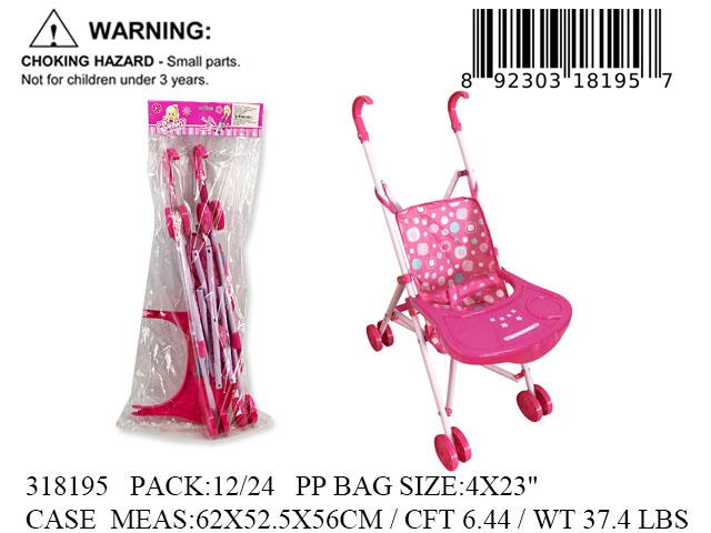 "23X4""LITE UP METAL DOLL STROLLER+TABLE"