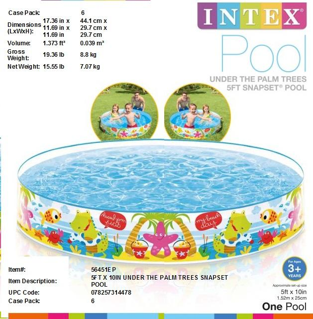 "5FTX10"" UNDER THE PALM TREES DESIGN SNAPSET POOL"