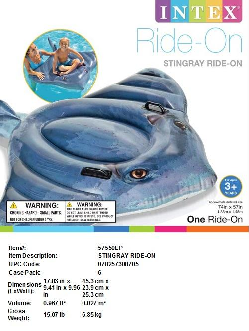 "74X57""INTEX INFLATABLE STINGRAY RIDE-ON"