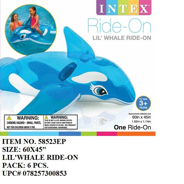 "60X45""INTEX INFLATABLE LIL'WHALE RIDE-ON"