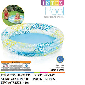 "48X10""INTEX STARGAZE 2-RING STAR PRT POOL"