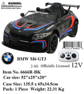 12V LICENSED BMW M6 GT3 R/C RIDE ON CAR