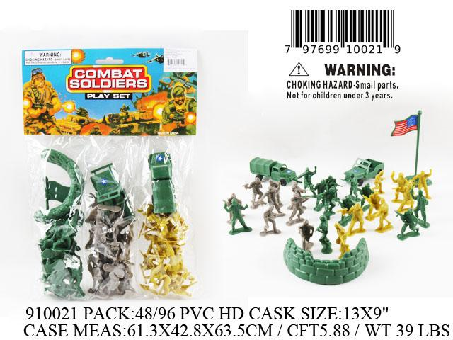 "13X9""3IN1 COMBAT SOLDIERS FIG. PLAY SET"