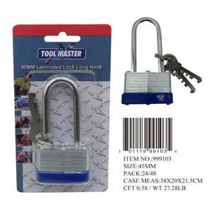 LAMINATED PADLOCK 45MM LONG NECK