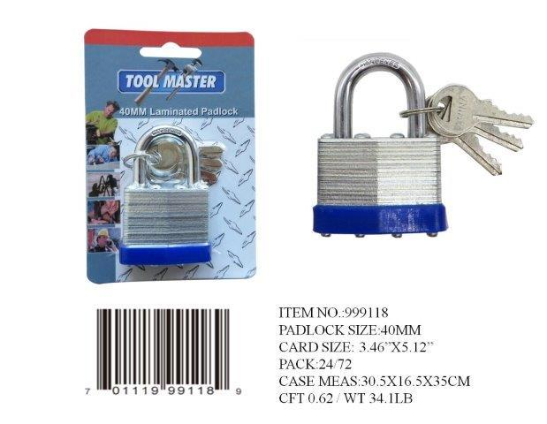40MM BRASS CORE LAMINATED PADLOCK 3 KEYS
