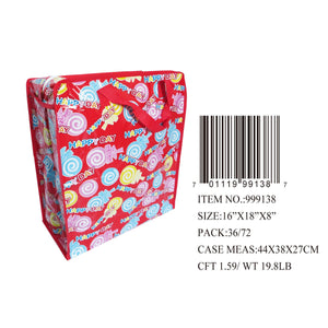 "18X16X8""RED PRT ZIPPER BAG"