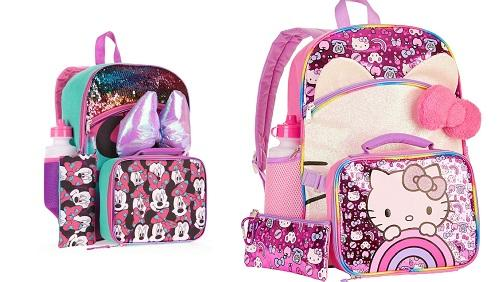 5PCS SET BACK PACK MIXED DESIGNS HELLO KITTY & MIN