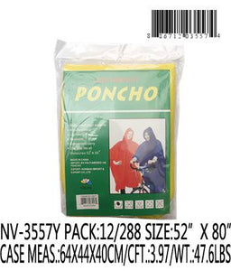 ADULT RAIN PONCHO YELLOW
