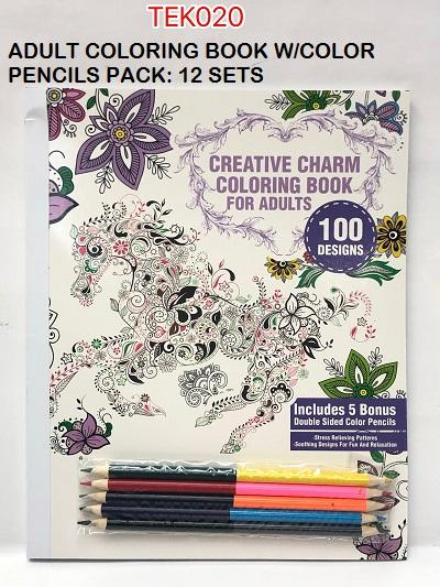 COLORING BOOK W/5PC TWIN HEAD COL PENCIL