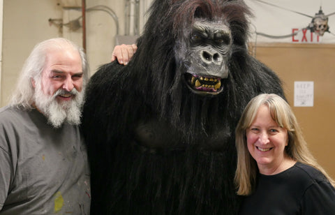Distortions owners Ed and Marsha Edmunds with Gorilla Prop Display