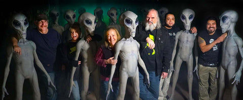 Distortions Unlimited crew with Roswell Alien Props