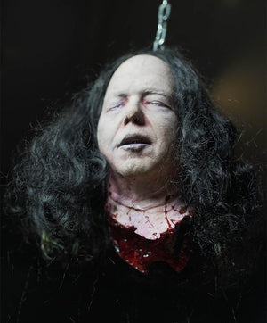 """Kirk"" Severed head prop by Distortions Unlimited hanging"