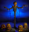 8 Ft tall Halloween prop called Pumpkin Stalker, shown here with separate products Grizzly Gourd, Jack Attack, and the prop versions all by Distortions Unlimited.