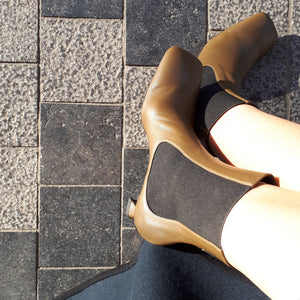 Ankle boots in olive leather