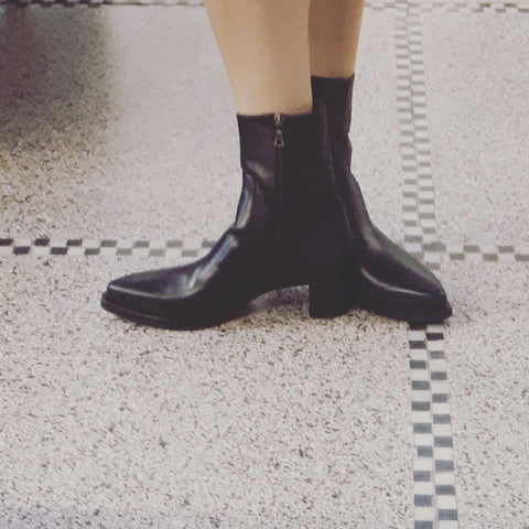 Boots in black nappa leather