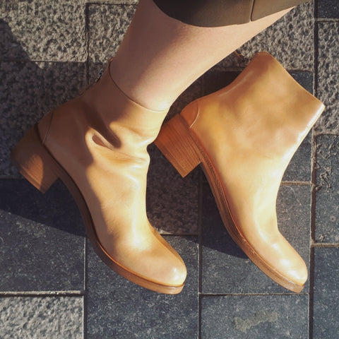 Ankle boots in light beige