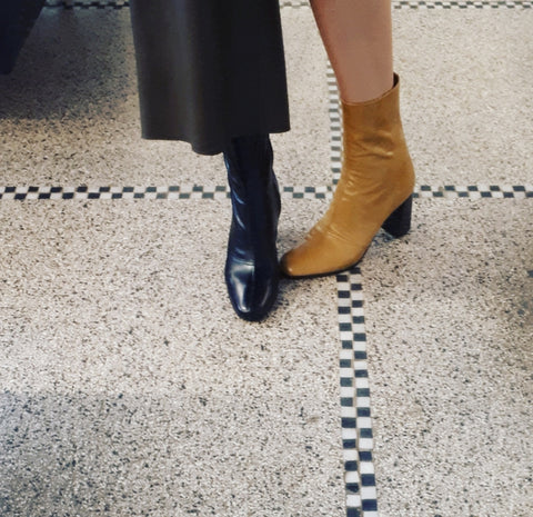 Boots with block heel in yellow leather