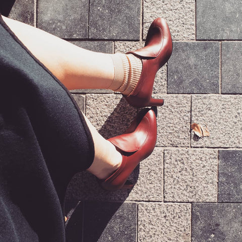 High heeled mocassin in burgundy