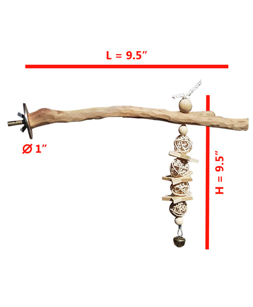 CRAFTMAVEN  HARDWOOD BIRD TOY #2: LARGE HARDWOOD PLAY ROOST WITH CLIMBING ROPE AND BELL