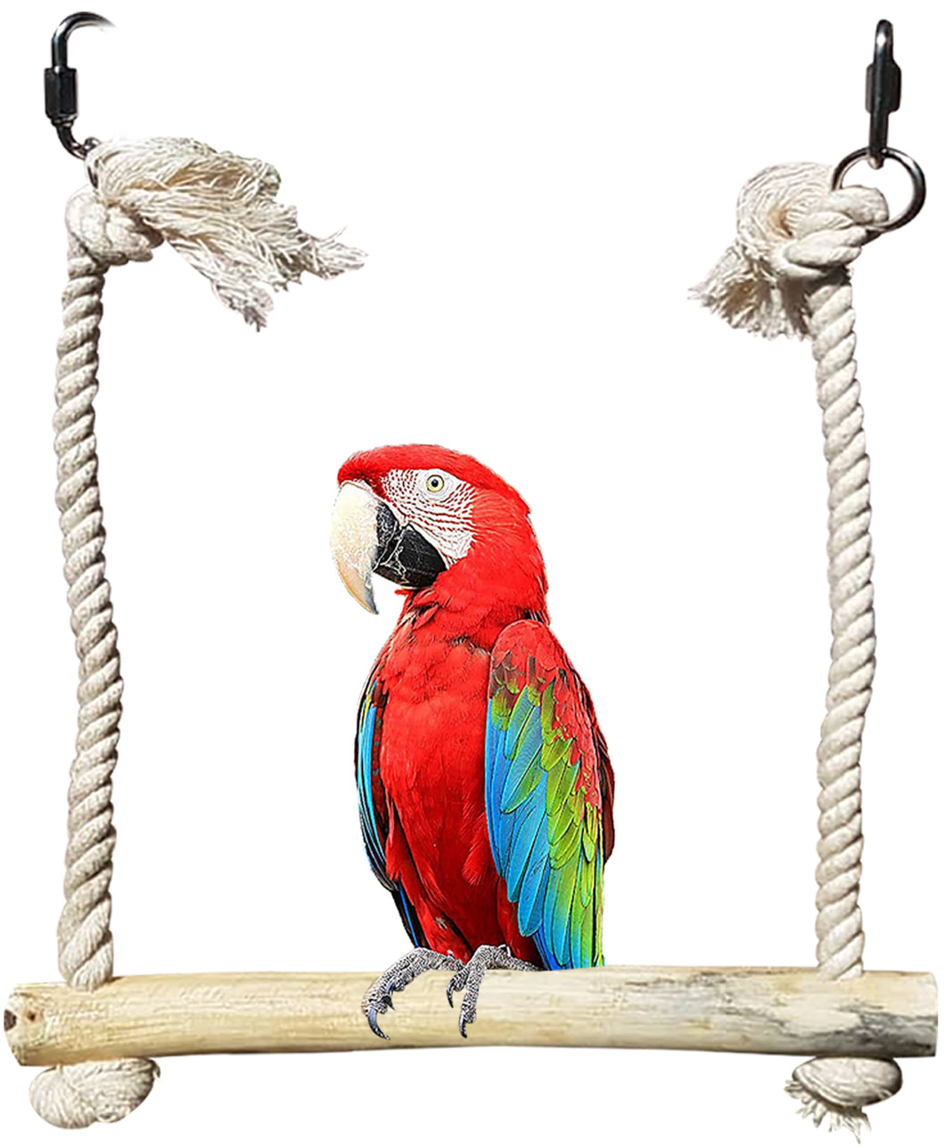 CRAFTMAVEN  HARDWOOD BIRD TOY #3 : HARDWOOD PLAY SWING WITH ROPE
