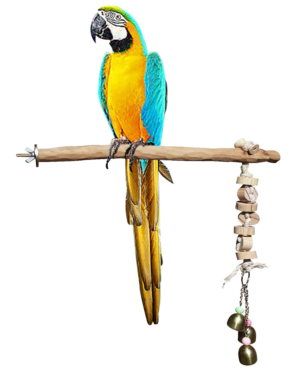 CRAFTMAVEN  HARDWOOD BIRD TOY #1 : LARGE HARDWOOD PLAY ROOST WITH CLIMBING ROPE AND BELLS