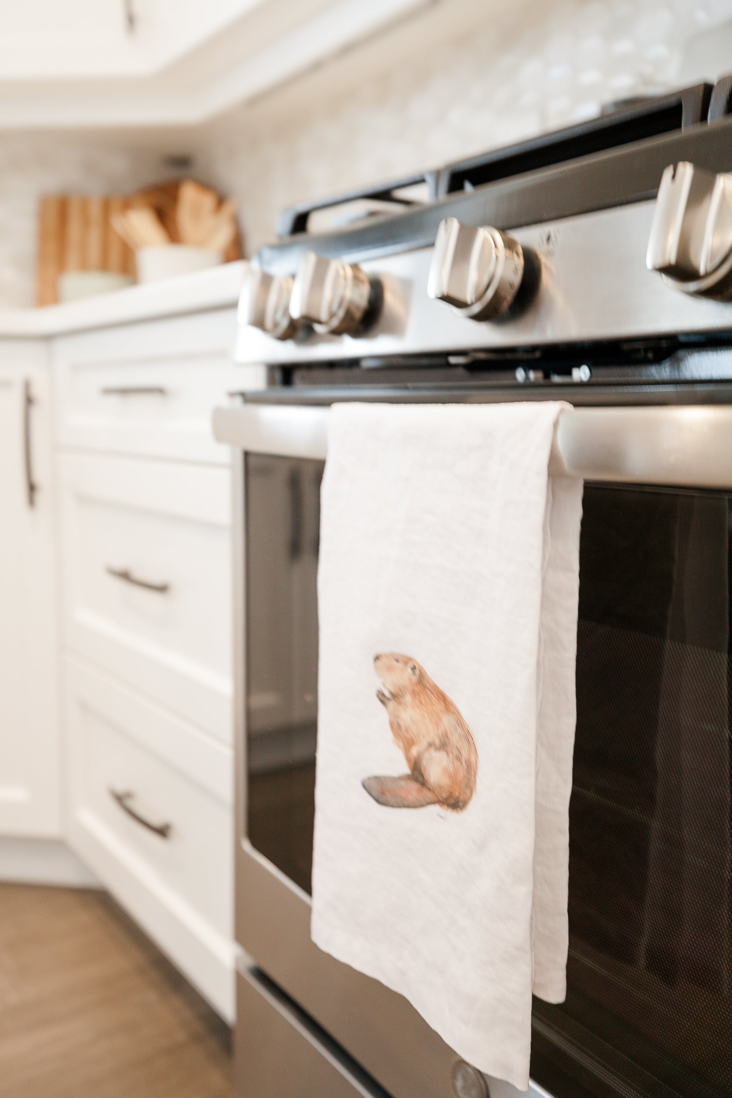 Canadian Beaver French Linen Tea Towel