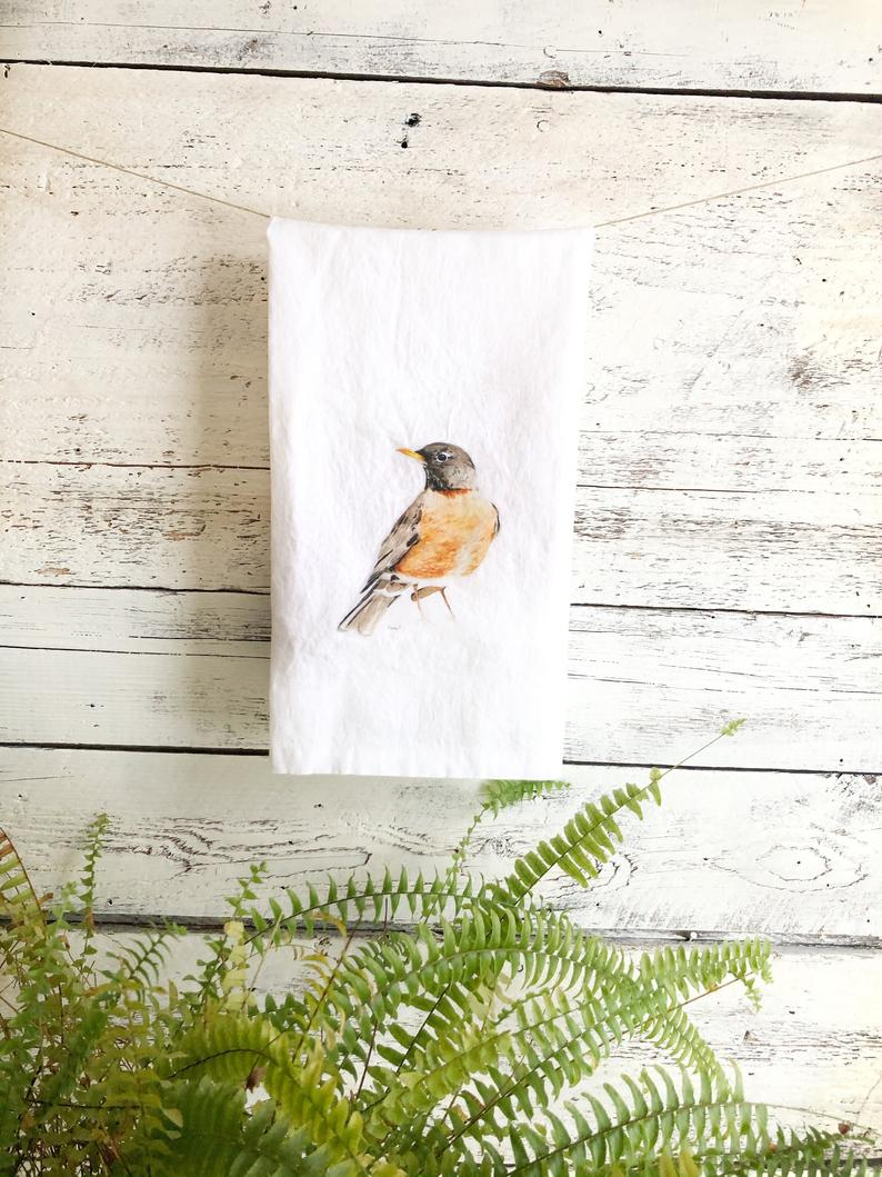 Robin French Linen Tea Towel