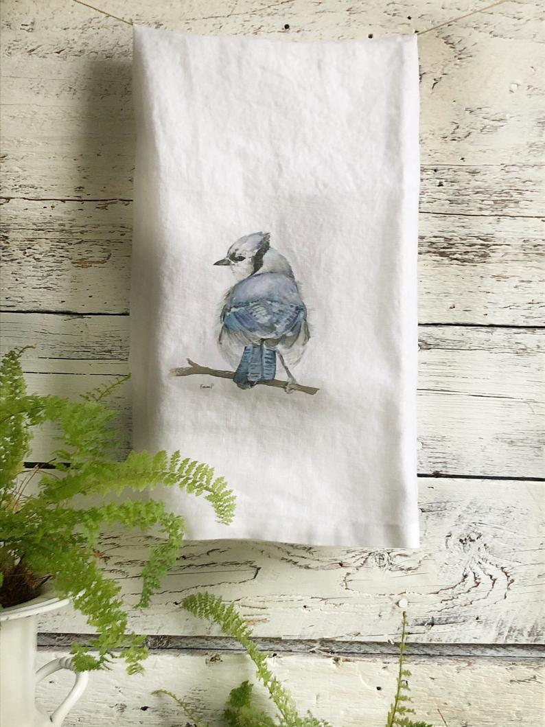 Blue Jay French Linen Tea Towel