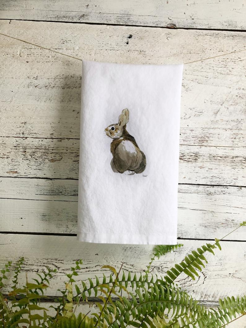 Brown Bunny French Linen Tea Towel