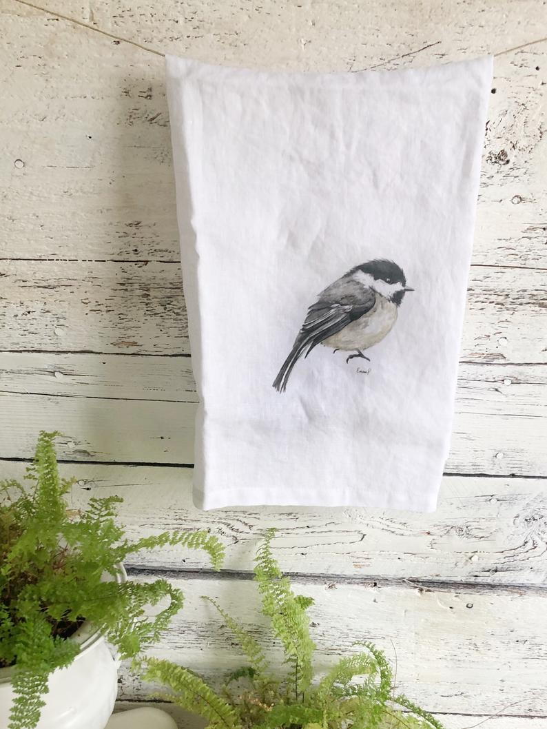 Chickadee French Linen Tea Towel