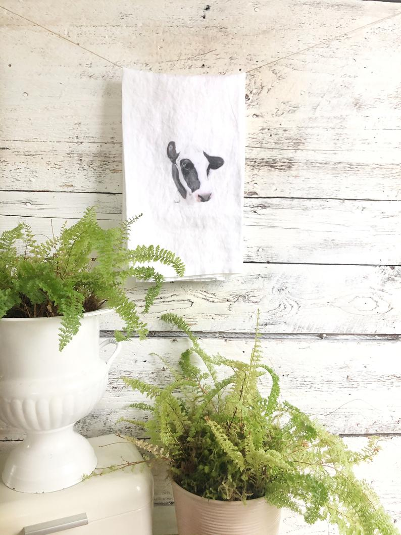 Holstein Cow French Linen Tea Towel